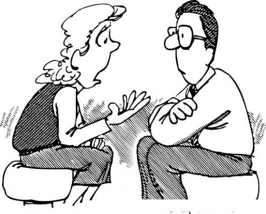 Dibujo De Mujer Preocupada Hablando Con Su Esposo Para