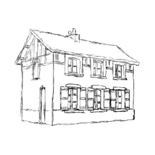 Dibujo De Una Casa Vieja De Madera De Dos Pisos Para Pintar Y Colorear