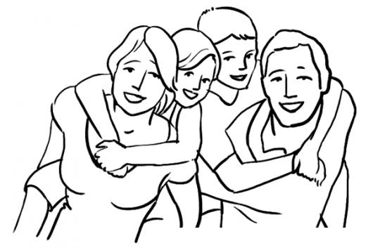 Dibujo Familia Feliz Para Pintar Colorear Mama Papa Cargando