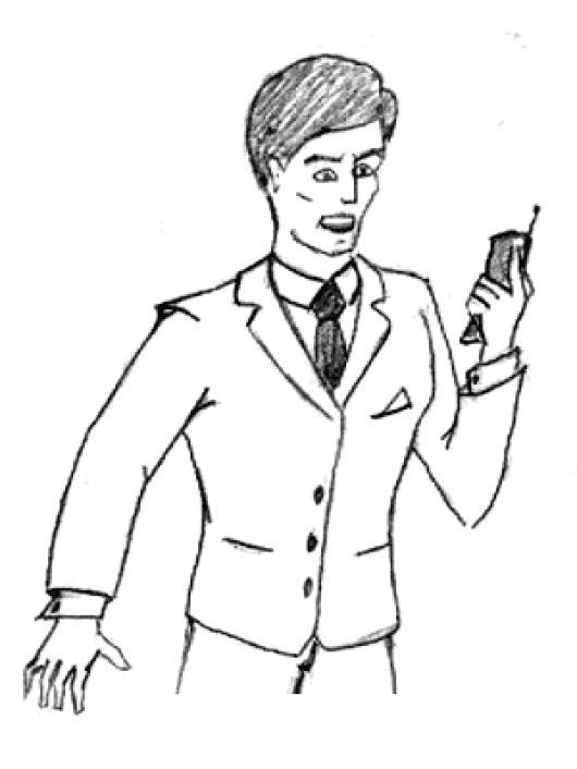 Dibujo De Hombre Recibiendo Una Llamada En El Celular De Un Numero