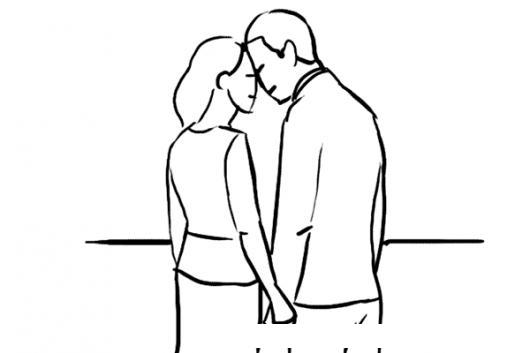 dibujo de una reconciliacion amorosa para pintar y colorear pareja de novios reconciliados