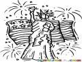 Dibujo De La Estatua De La Libertad Con La Bandera De Los Estados Unidos En El Dia De La Independencia 4 De Julio Para Pintar Y Colorear