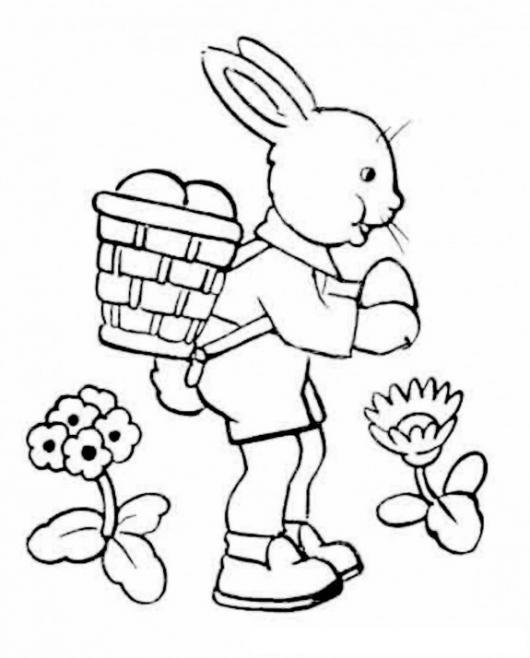 Dibujo De Conejo Con Canasta De Huevos De Pascua Para Pintar Y ...