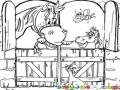 Establo De Caballos Dibujo De Un Establo Con Dos Caballos Un Gato Y Una Abeja Para Pintar Y Colorear