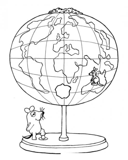 Dibujo De Raton Observando El Mundo Para Pintar Y Colorear