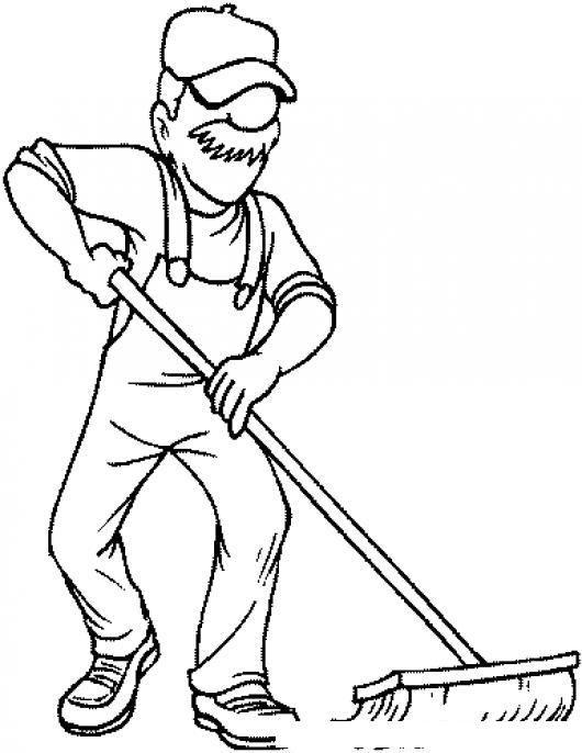 Dibujo de conserje barriendo el piso para pintar y - Pintar el piso ...
