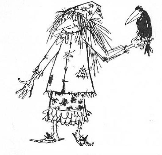 Espantapajaros Dibujo De Mujer Espanta Pajaros Con Un Cuervo En Su ...
