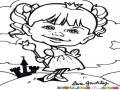 Dibujo De Princesita con Su Castillo Al Fondo Para Pintar Y Colorear