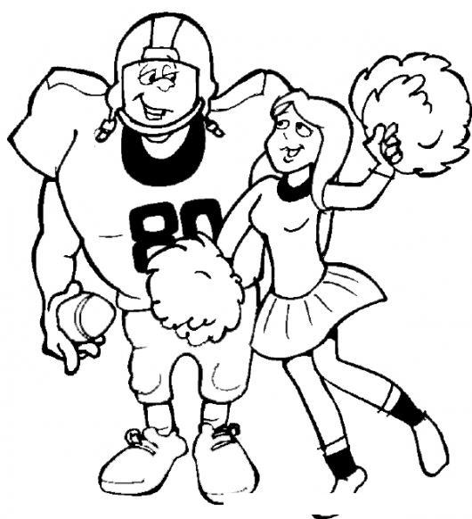 Dibujo De Un Jugador De Futbol Americano Con Su Novia Porrista Para