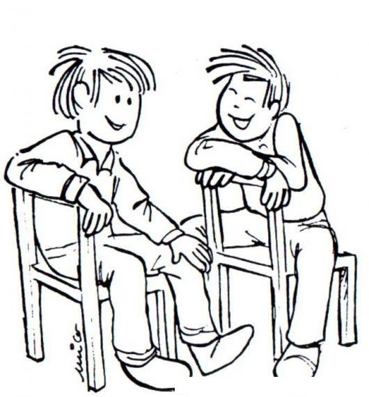 Dos ninos amigos platicando sentados en sillas de madera for Sillas para dibujar