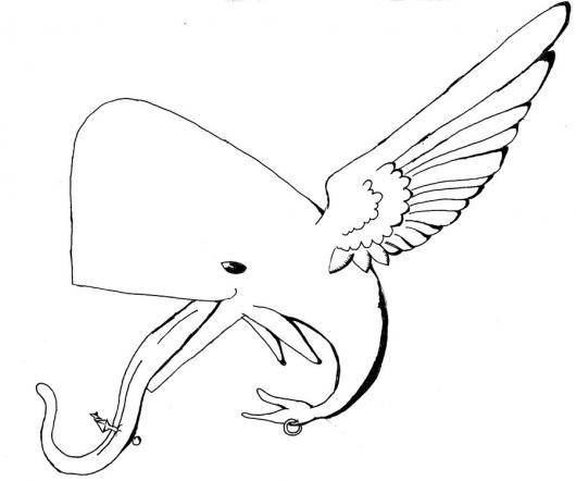 Worksheet. Ballena Voladora Dibujo De Una Ballena Con Alas Y Lengua Larga