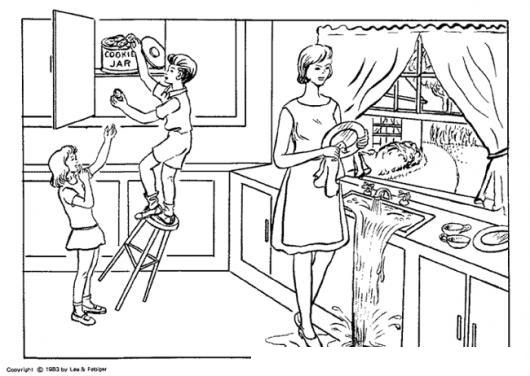 Dibujo De Mama Ciega Lavando Platos Y Sus Hijos Robandole Galleras Para Pintar Y Colorear