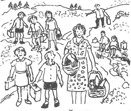 Dibujo De Maestra Con Alumnos En Un Dia De Campo Para Pintar Y ...