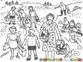 Dibujo De Maestra Con Alumnos En Un Dia De Campo Para Pintar Y Colorear Profesora Con Sus Estudiantes En Una Excursion De Campo