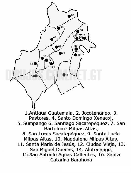 Colorear Mapa del departamento de Sacatepequez, Lamina del ...