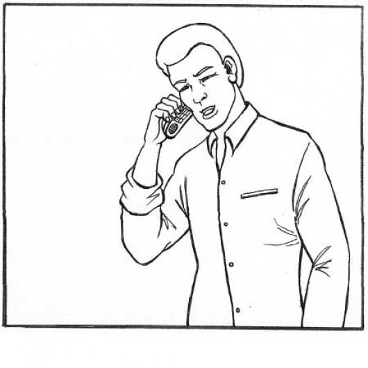 Dibujo De Hombre Hablando Por Celular Para Pintar Y Colorear