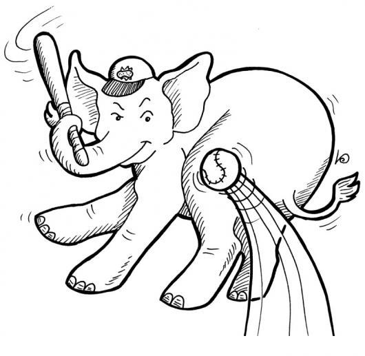Elefante Beisbolista Dibujo De Elefante Jugando Beisbol Para
