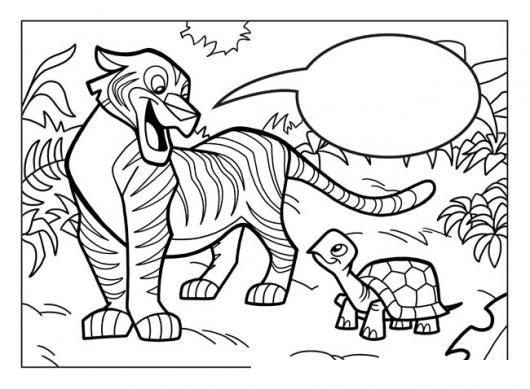 Dibujo De Tigre Hablando Con Una Tortuga Para Pintar Y Colorear