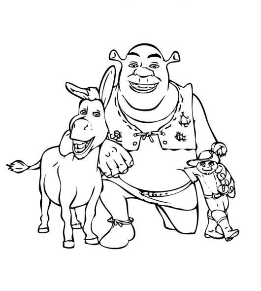 Dibujo de Shrek con el burro y el gato | COLOREAR SHREK | Pintar a ...