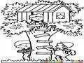 Casaenarbol Dibujo De Casita De Ninos Sobre Un Arbolito Para Pintar Y Colorear Casa En Arbol