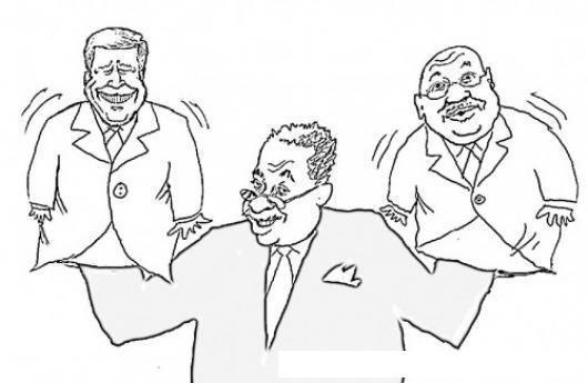 Titeretero Dibujo De Un Marionetero Con Dos Marionetas Para