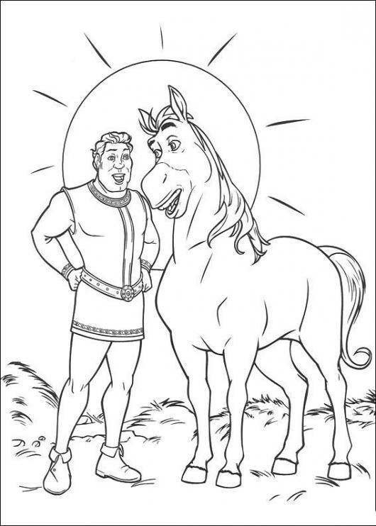 Colorear al Principe y al caballo de Shrek   COLOREAR SHREK   Dibujo ...