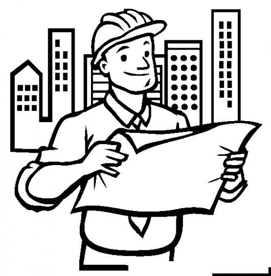 Dibujo De Ingeniero Civil Supervisando Palnos Para Pintar Y ...