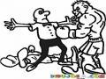 Pelea De Box Dibujo De Referi De Boxeo Parando Una Pelea Por Knock Out Para Pintar Y Colorear Boxeadores