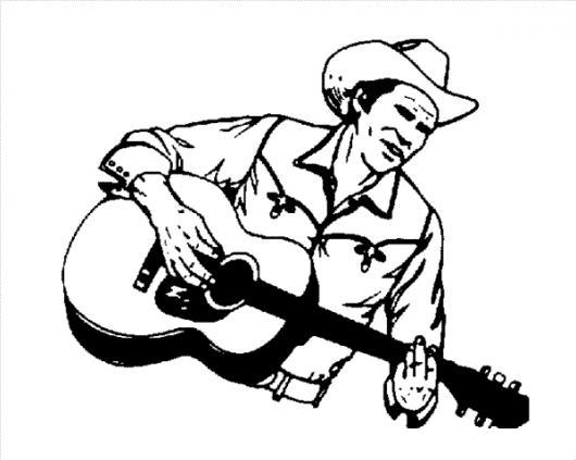Dibujo De Vaquero Con Guitarra Para Pintar Y Colorear