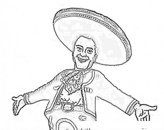 Dibujo De Enrique Pena Nieto Con Sombrero Charro Para Pintar Y