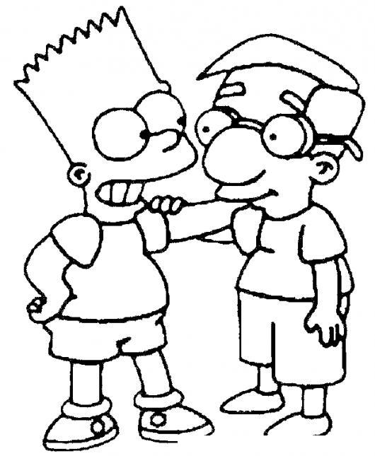 Dibujo De Amistad Para Pintar Y Colorear A Bart Simpson ...