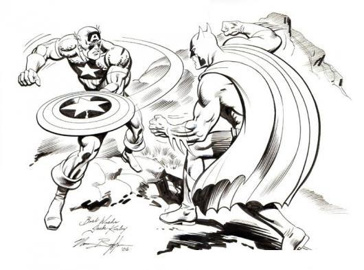 Dibujo De Batman Peleando Con El Capitan America Para Pintar Y