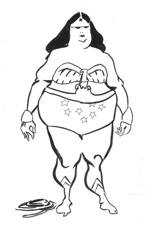 Dibujo De La Mujer Maravilla Gorda Y Fea Para Pintar Y Colorear