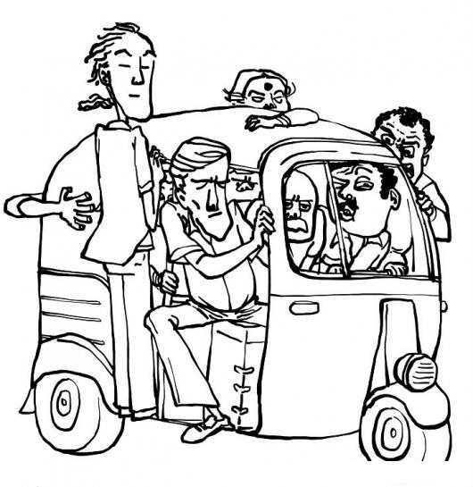 Dibujo De Moto Taxi Sobre Cargado Para Pintar Y Colorear