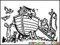 Dibujo De El Arca De Noe Con Animales Para Colorear