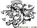 Cupido Viejo Y Feo Volando Y Filmando Para Pintar Y Colorear