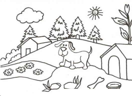Dibujo De Perrito Granjero Para Pintar Y Colorear Perro En Una ...