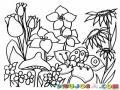 Colorear Gusanito En Un Jardin De Flores