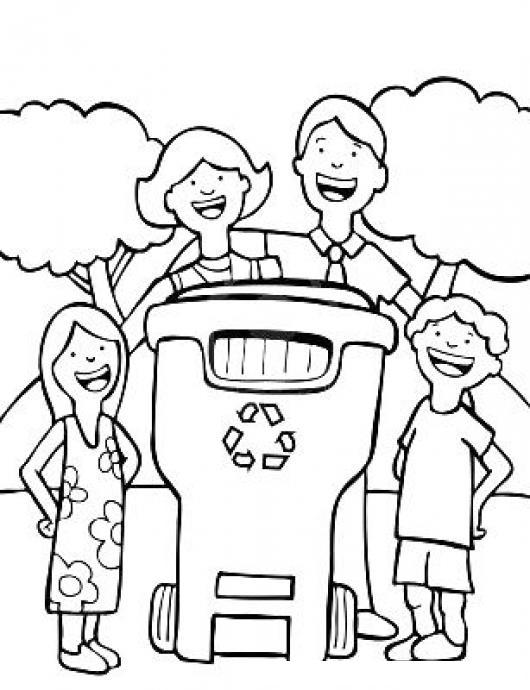 Colorear Familia Reciclando Dibujo De Familia Con Bote De Basura