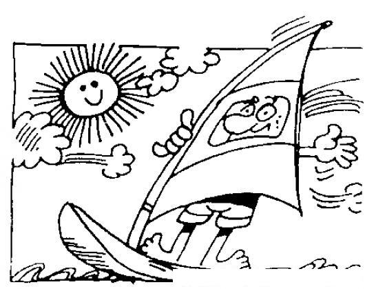 Dibujo De Velerista Para Pintar Y Colorear Windsurfer Con Su Velero