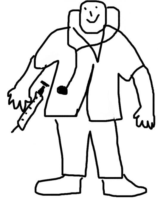 Dibujo De Doctor Con Estetoscopio Y Jeringa Para Pintar Y