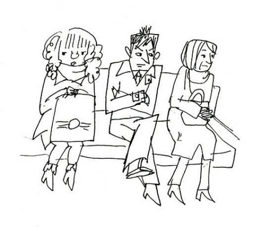 Sala de espera dibujo de personas esperando sentadas en un for Comedor facil de dibujar