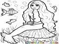 Dibujo De Sirenita Sentada En El Fondo Del Mar Rodeada De Pecesitos Para Pintar Y Colorear