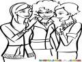 Dibujo De Tres Amigos Secreteandose Para Colorear