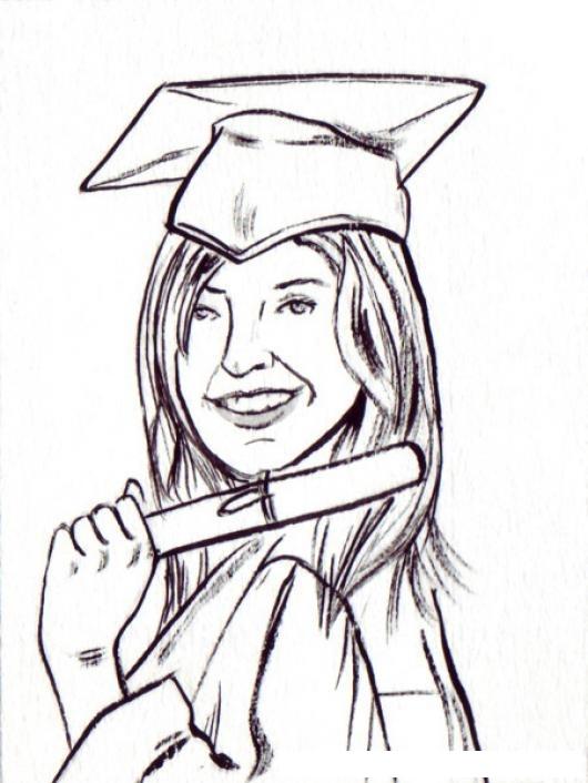 Dibujo De Mujer Graduada Con Su Diploma Toga Y Birrete Para Pintar