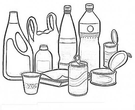Dibujo de botellas de cocina y enlatados para pintar y - Pintar botellas de plastico ...