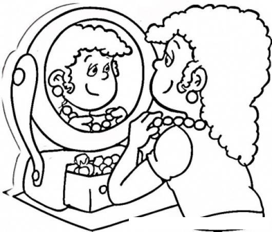 Collar de perlas dibujo de una mujer arreglandose en un - Dibujos para espejos ...