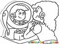 Collar De Perlas Dibujo De Una Mujer Arreglandose En Un Espejo Para Pintar Y Colorear