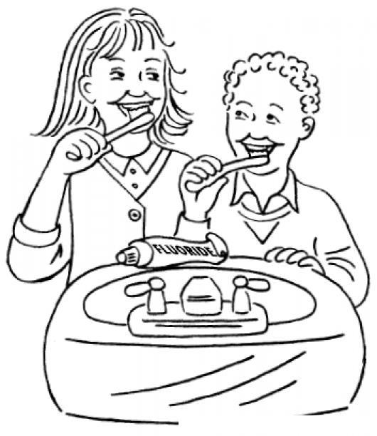 Ninos Lavandose Los Dientes Para Pintar Y Colorear Colorear