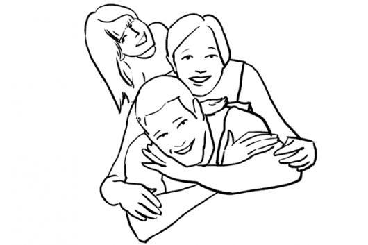 Dibujo De Papa Mama E Hija Para Pintar Y Colorear  COLOREAR